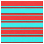 [ Thumbnail: Aqua, Red & Dark Red Lines Pattern Fabric ]