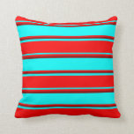 [ Thumbnail: Aqua, Red & Dark Red Lines Pattern Throw Pillow ]