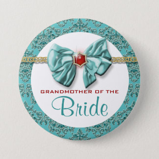 "Aqua red gold damask ""bridal buttons"" button"