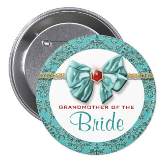 """Aqua red gold damask """"bridal buttons"""" button"""