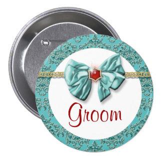 "Aqua red gold damask ""bridal buttons"" pinback button"