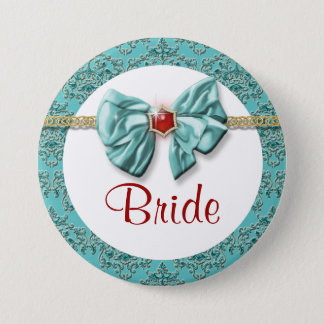 "Aqua red gold damask ""bridal buttons"" pinback button"