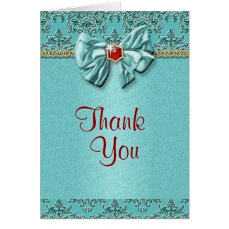 Aqua red gold damask wedding greeting card