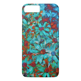 AQUA RED POPPIES FLOWERS iPhone 7 PLUS CASE