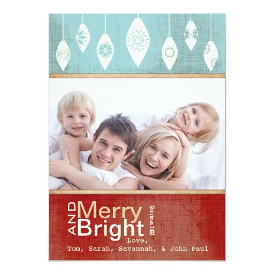 Aqua Red Retro Merry and Bright Family Photo Card