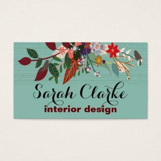 Aqua Red Vintage Floral Pattern Business Card