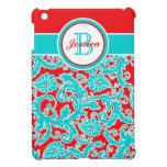 Aqua, Red, White Floral Damask iPad Mini Case