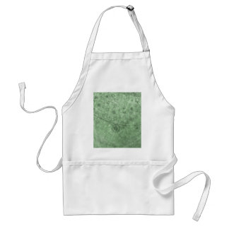 Aqua Retro Flowers and Butterflies Abstract Adult Apron
