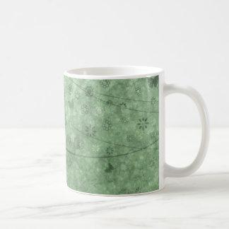 Aqua Retro Flowers and Butterflies Abstract Coffee Mug