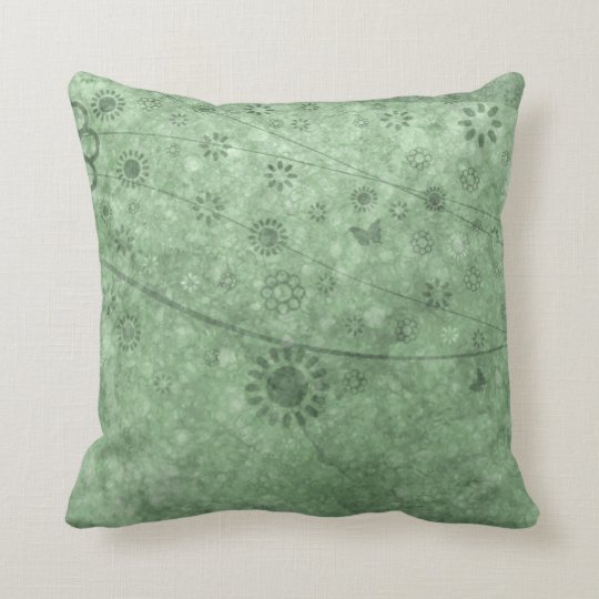 Aqua Retro Flowers and Butterflies Abstract Throw Pillow