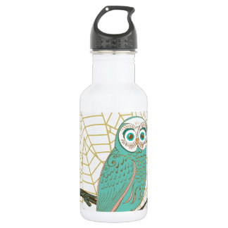 Aqua Retro Owl Design 18oz Water Bottle