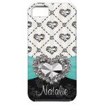 Aqua Rhinestone Heart iPhone 5 Case Mate Tough
