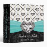 Aqua Rhinestone Heart Look Wedding Organizer Vinyl Binder