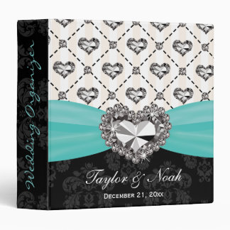 Aqua Rhinestone Heart Look Wedding Organizer Binder