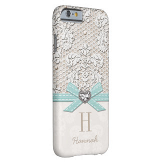 Aqua Rhinestone Look Heart Printed Lace and Bow Barely There iPhone 6 Case