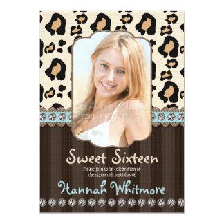 Aqua Rhinestone Look Leopard Print Sweet Sixteen 5x7 Paper Invitation Card