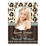 Aqua Rhinestone Look Leopard Print Sweet Sixteen Invitation