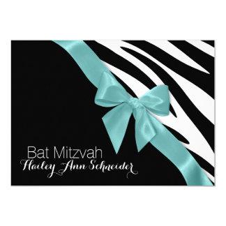 Aqua Ribbon and Zebra Stripes Bat Mitzvah Card