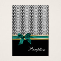 aqua ribbon damask Reception   Cards