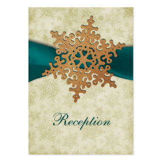 Aqua ribbon, rustic snowflake business card templates