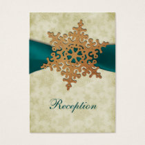 Aqua ribbon, rustic snowflake business card