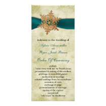 Aqua ribbon, rustic snowflake rack card