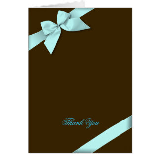 Aqua Ribbon Thank You Blank Card
