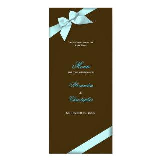Aqua Ribbon Wedding Menu Card