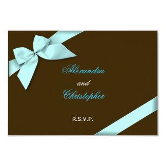 "Aqua Ribbon Wedding RSVP 3.5"" X 5"" Invitation Card"