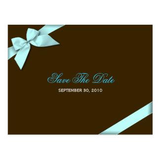 Aqua Ribbon Wedding Save the Date 3 Postcard