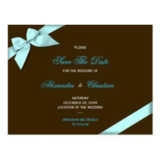 Aqua Ribbon Wedding Save the Date 4 Postcard
