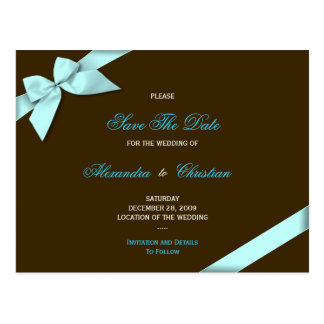 Aqua Ribbon Wedding Save the Date 4 Postcard