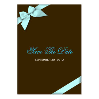 Aqua Ribbon Wedding Save The Date MiniCard Business Cards