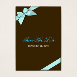 Aqua Ribbon Wedding Save The Date MiniCard Large Business Card