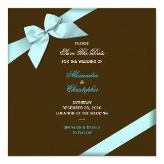 Aqua Ribbon Wedding Save The Date S5V2 Card