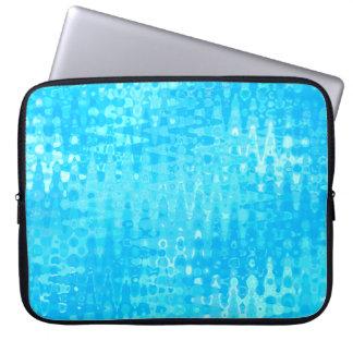 Aqua Ripples Ice Blue Water Bubbles Zigzag Pattern Laptop Sleeve