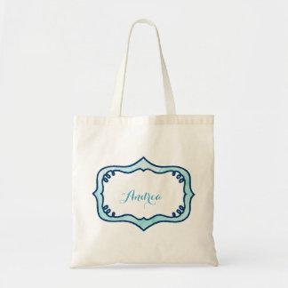 Aqua Rope Label Tote Bag