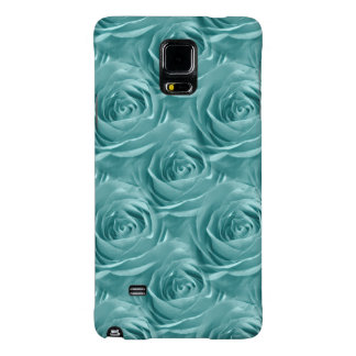 Aqua Rose Center Abstract Floral Photo Pattern Galaxy Note 4 Case