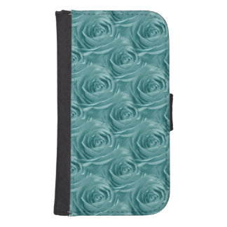 Aqua Rose Center Abstract Floral Photo Pattern Galaxy S4 Wallets