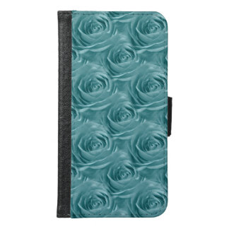 Aqua Rose Center Abstract Floral Photo Pattern