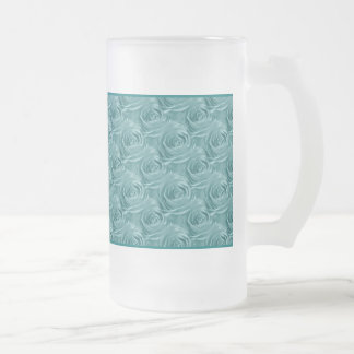 Aqua Rose Center Floral Photo Pattern Frosted Glass Beer Mug