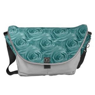 Aqua Rose Center Floral Photo Pattern Messenger Bag
