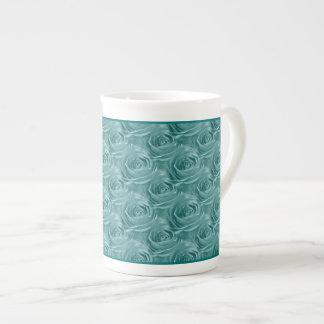 Aqua Rose Center Floral Photo Pattern Tea Cup