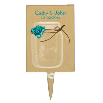 aqua rose mason jar personalized cake picks