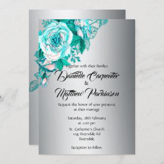 Aqua Roses and Silver Wedding Invitation