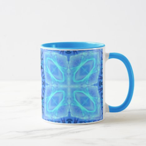 Aqua Royal Blue Hawaiian Quilt Mug