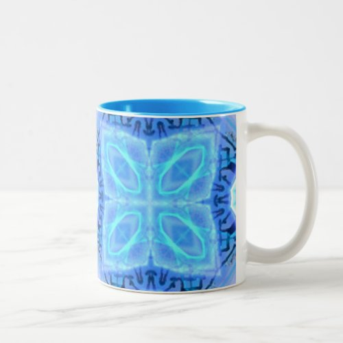 Aqua Royal Blue Hawaiian Quilt Two-Tone Coffee Mug