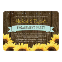 AQUA RUSTIC SUNFLOWER ENGAGEMENT PARTY CARD