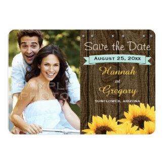 AQUA RUSTIC SUNFLOWER SAVE THE DATE CARD