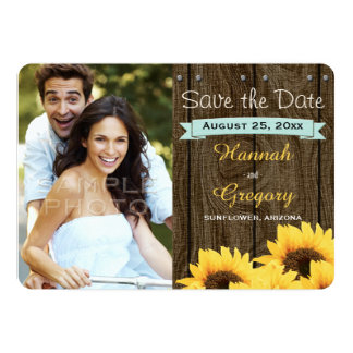 AQUA RUSTIC SUNFLOWER SAVE THE DATE CARD PERSONALIZED ANNOUNCEMENTS